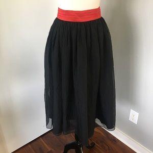 VINTAGE Midi Sheer Crepe Skirt with Waistband